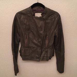 Gray fake leather jacket